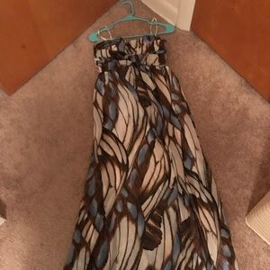 Jessica Simpson Blue Brown Maternity Dress Medium